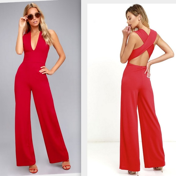 de4f76480b6 Lulu s Thinking Out Loud Red Backless Jumpsuit